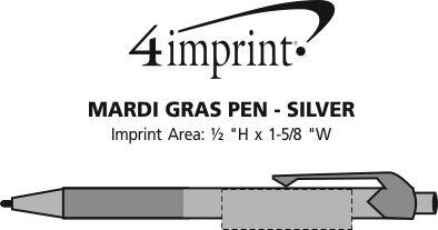 Imprint Area of Mardi Gras Pen - Silver