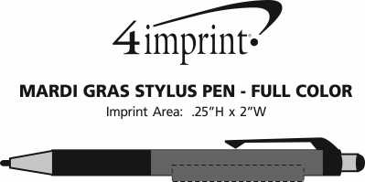 Imprint Area of Mardi Gras Stylus Pen - Full Color