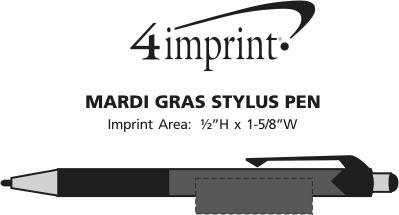 Imprint Area of Mardi Gras Stylus Pen
