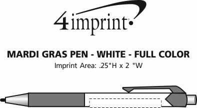 Imprint Area of Mardi Gras Pen - White - Full Color