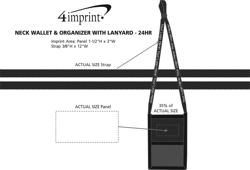 Imprint Area of Neck Wallet and Organizer with Lanyard - 24 hr