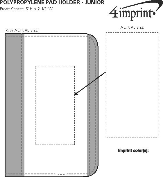 Imprint Area of Polypropylene Pad Holder - Junior