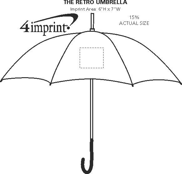 """Imprint Area of The Retro Umbrella - 48"""" Arc"""