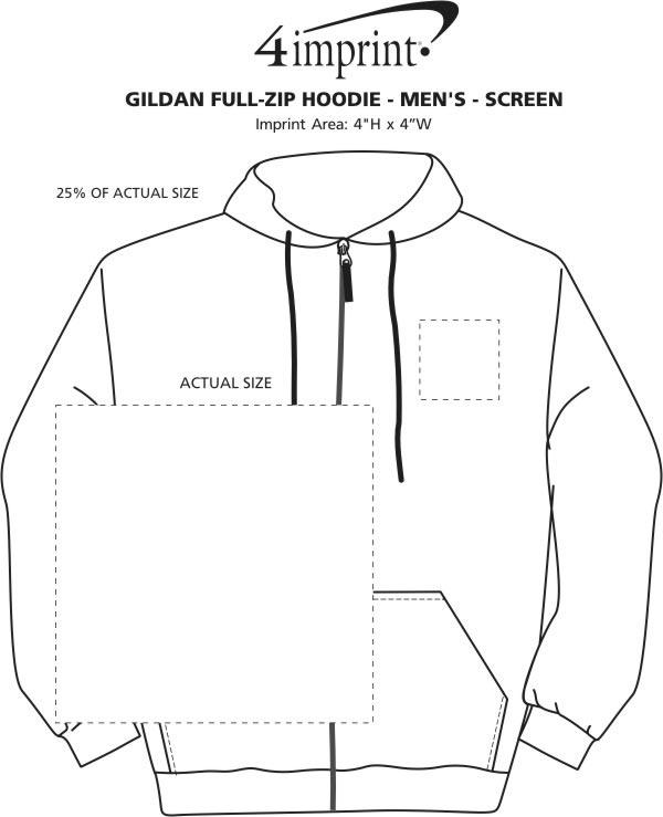 Imprint Area of Gildan Full-Zip Hoodie - Men's - Screen