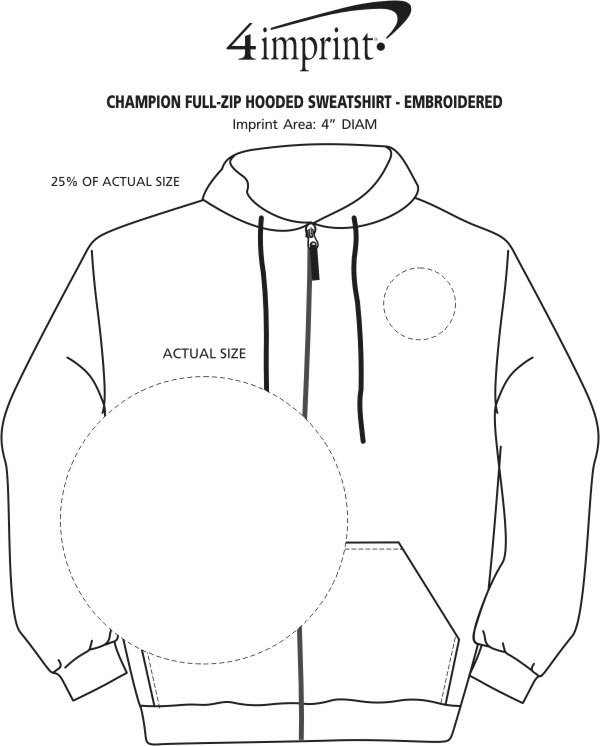 Imprint Area of Champion Full-Zip Hoodie - Embroidered
