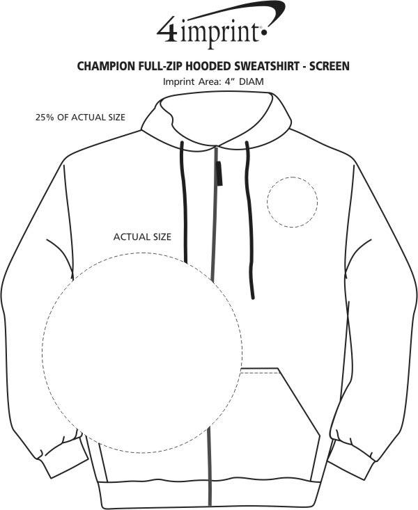 Imprint Area of Champion Full-Zip Hoodie - Screen