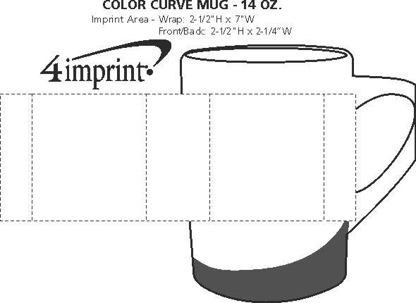 Imprint Area of Color Curve Mug - 14 oz.
