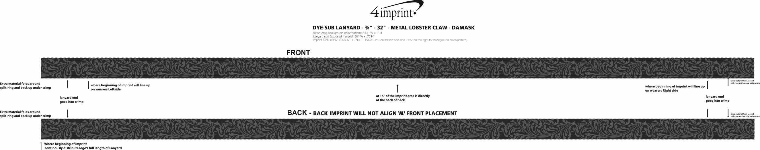 "Imprint Area of Dye-Sub Lanyard - 3/4"" - 32"" - Metal Lobster Claw - Damask"