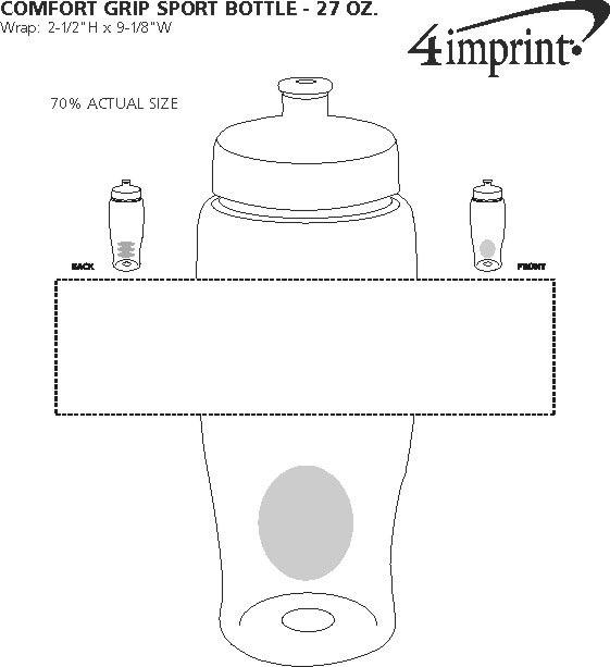 Imprint Area of Comfort Grip Bottle - 27 oz.