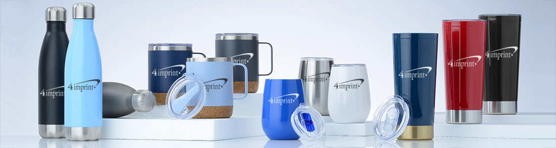 Promotional Drinkware that include wine tumblers, water bottles and mugs