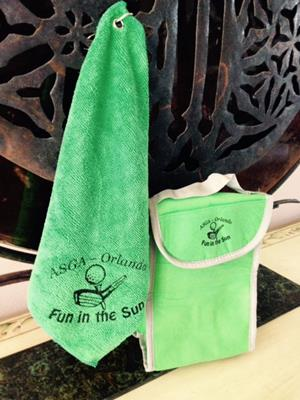 Customer photo from Carolyn of our Microfiber Golf Towel