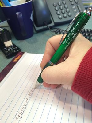 Customer photo from Brad of our Curvy Pen - Trans Brights