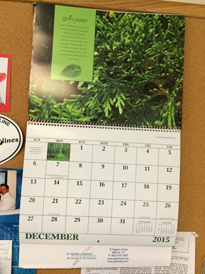 Customer photo from Wendy of our Goingreen Calendar - Spiral