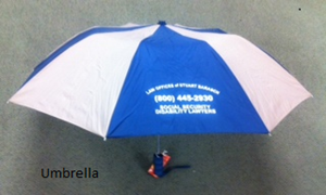 "Customer photo from Le of our 42"" Folding Umbrella with Auto Open - Alternating - 42"" Arc"