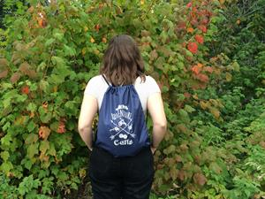 "Customer photo from Kate of our Drawstring Sportpack - 18"" x 14"""