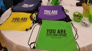 Customer photo from Monica of our Promotional Drawstring Sportpack