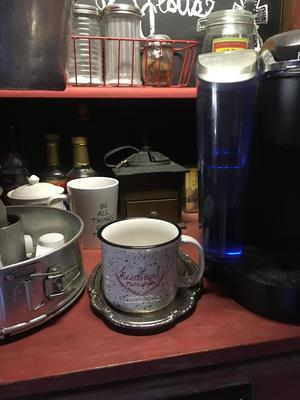 Customer photo from Andrea of our Campfire Ceramic Mug - White - 15 oz.
