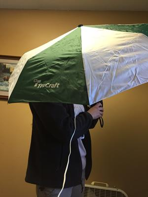 "Customer photo from Olivia of our totes Auto Open/Close Umbrella - Two-Tone - 43"" Arc"