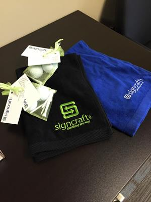 Customer photo from Brandy of our Golf Towel with Grommet and Clip