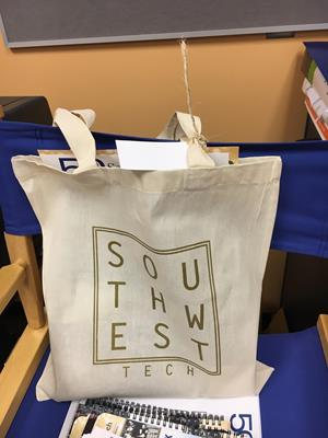 "Customer photo from Katharine of our Cotton Sheeting Natural Economy Tote - 15-1/2"" x 15"""