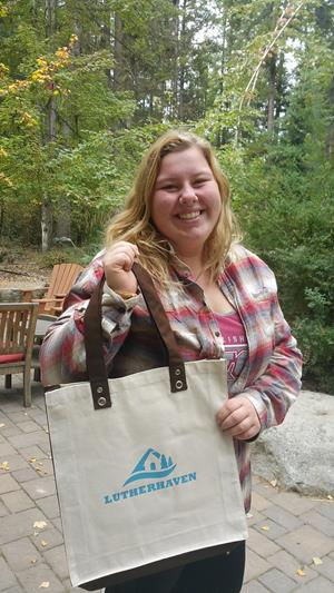 Customer photo from Lauren of our Cotton Canvas World Tote