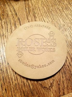 Customer photo from Judy of our Buff Leather Coaster