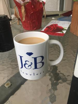 Customer photo from Debbie of our Value White Coffee Mug - 11 oz.